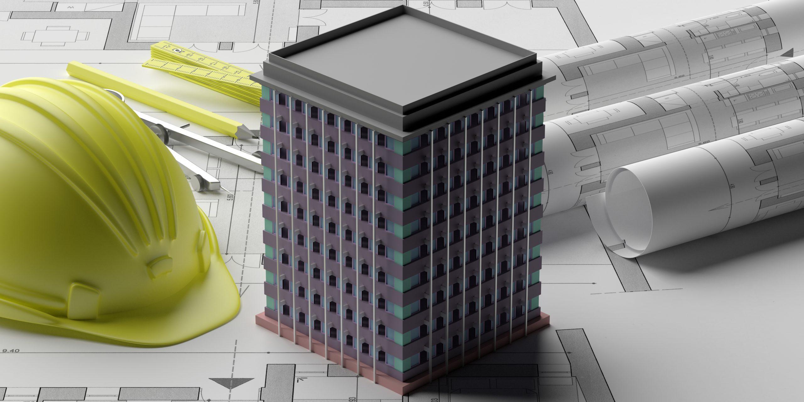 mengatasi getaran struktur bangunan mockup arsitektur bangunan